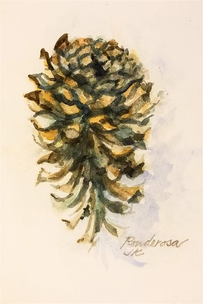 """Ponderosa Cone 2"" original fine art by Jean Krueger"
