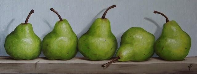 """Five Williams Pears"" original fine art by Jane Palmer"