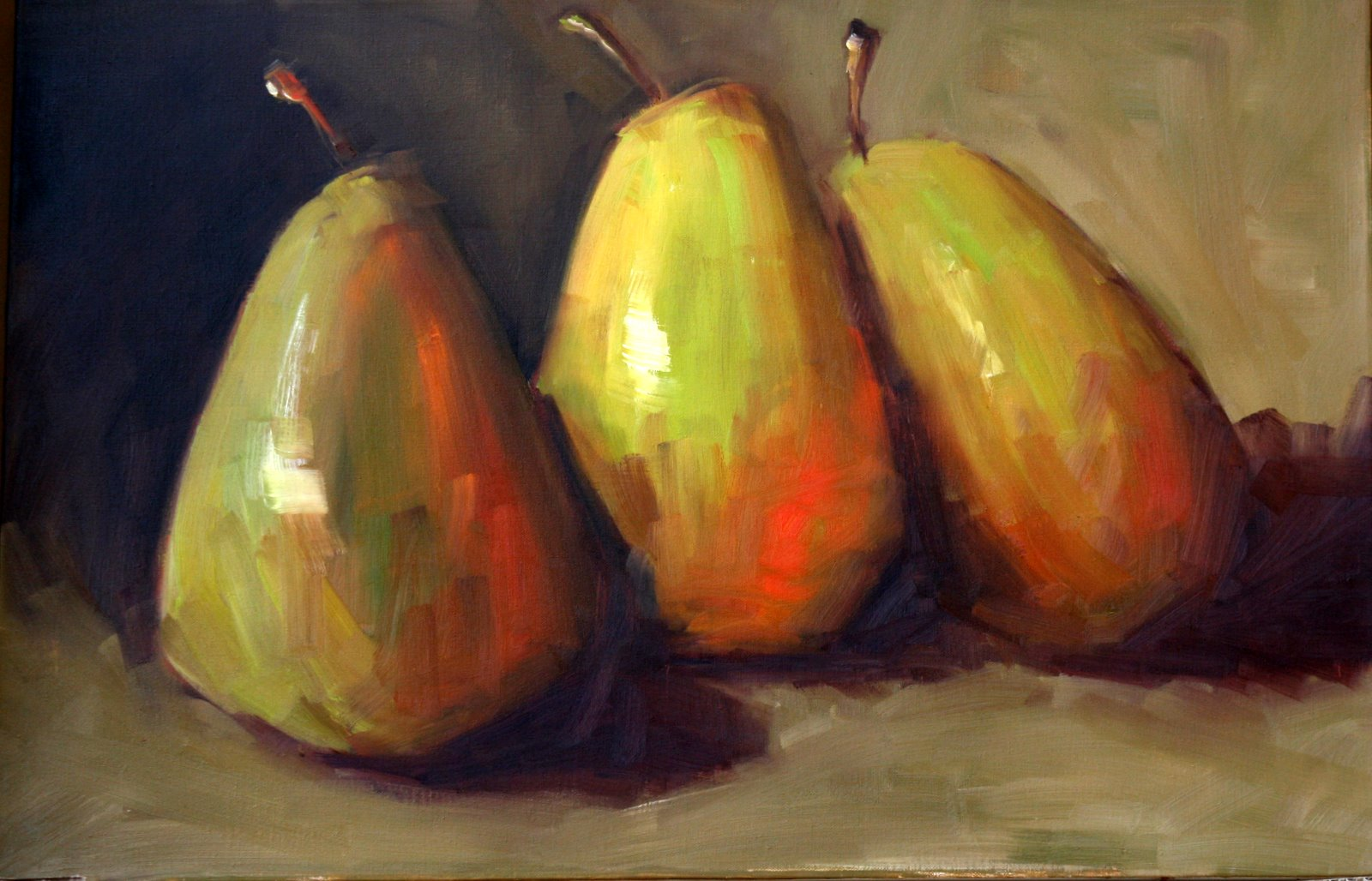 """really big pears"" original fine art by Carol Carmichael"