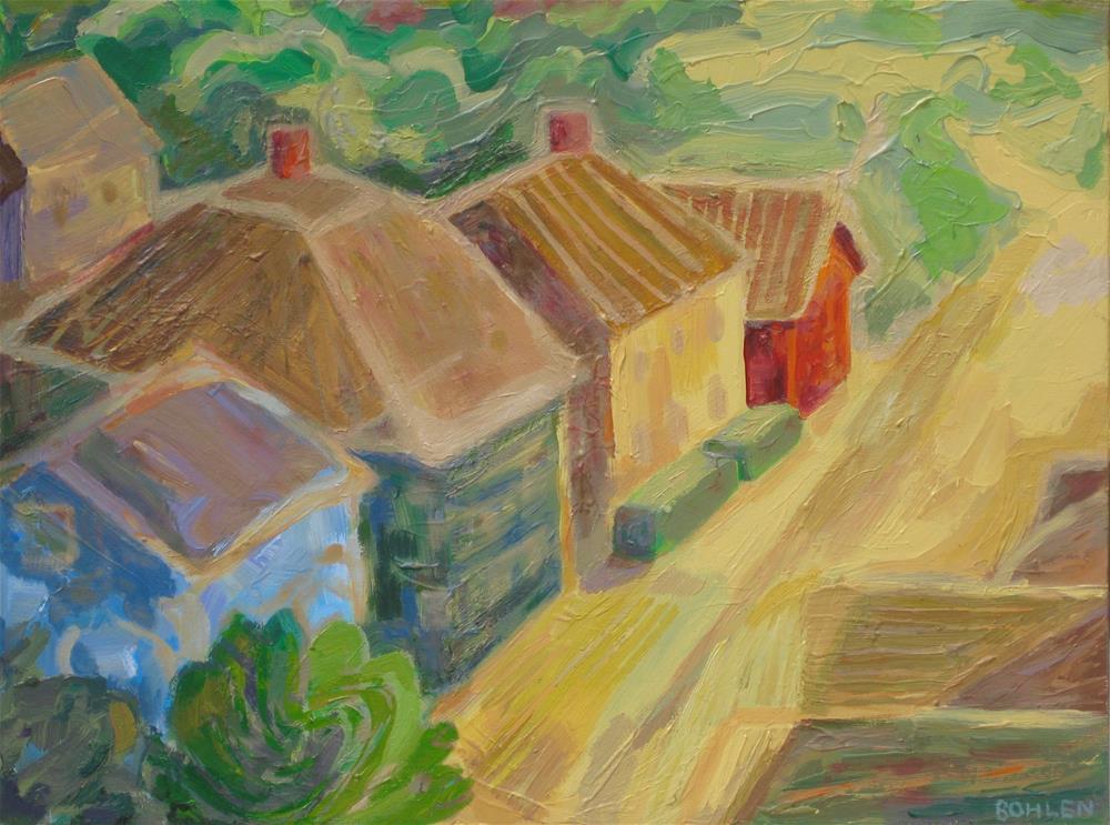 """""""Sun Town"""" original fine art by Priscilla Bohlen"""
