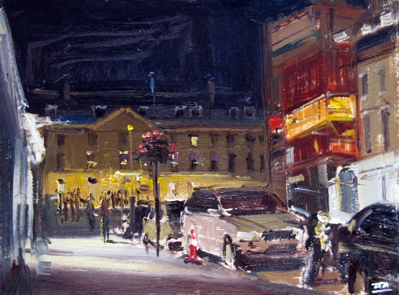 """City of Bath Nocturne 6"" original fine art by Adebanji Alade"