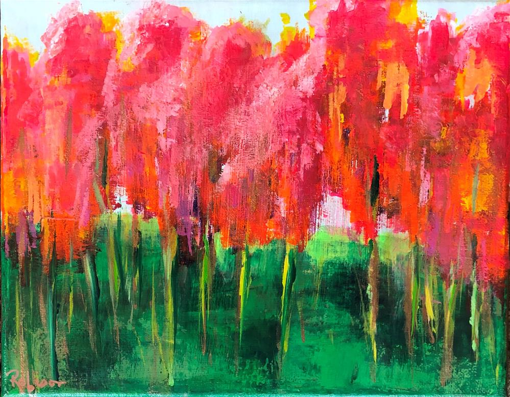 """Channeling Wolf Kahn-Pink Trees"" original fine art by Renee Robison"