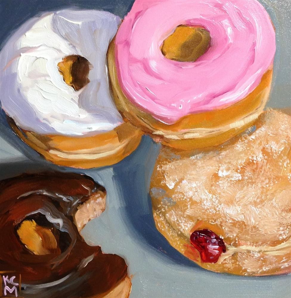 """""""Who Took That Bite? 8x8 Inch Oil Painting of Donuts by Kelley MacDonald"""" original fine art by Kelley MacDonald"""