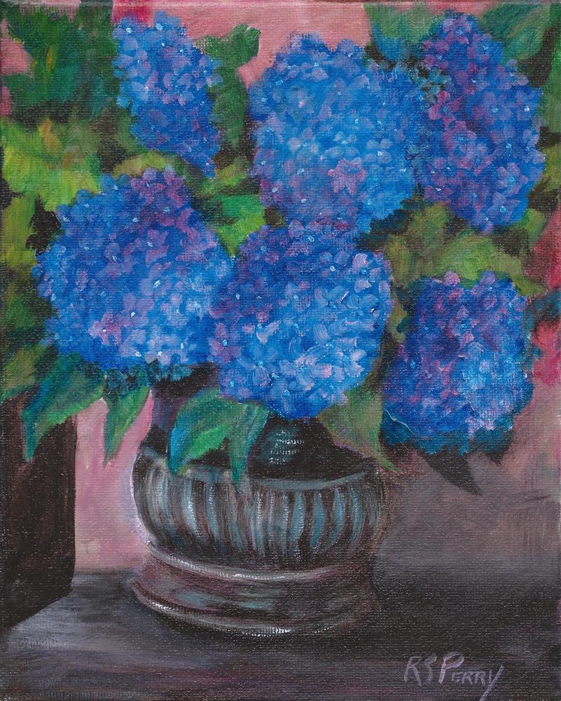 """Blue Hydrangeas in a Silver Vase "" original fine art by R. S. Perry"