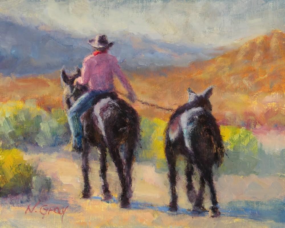 """Mule Train of Two"" original fine art by Naomi Gray"