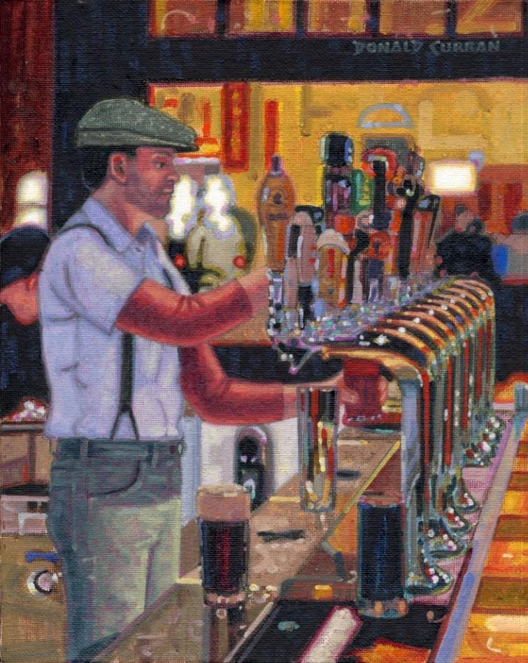 """Serving up the Guinness"" original fine art by Donald Curran"