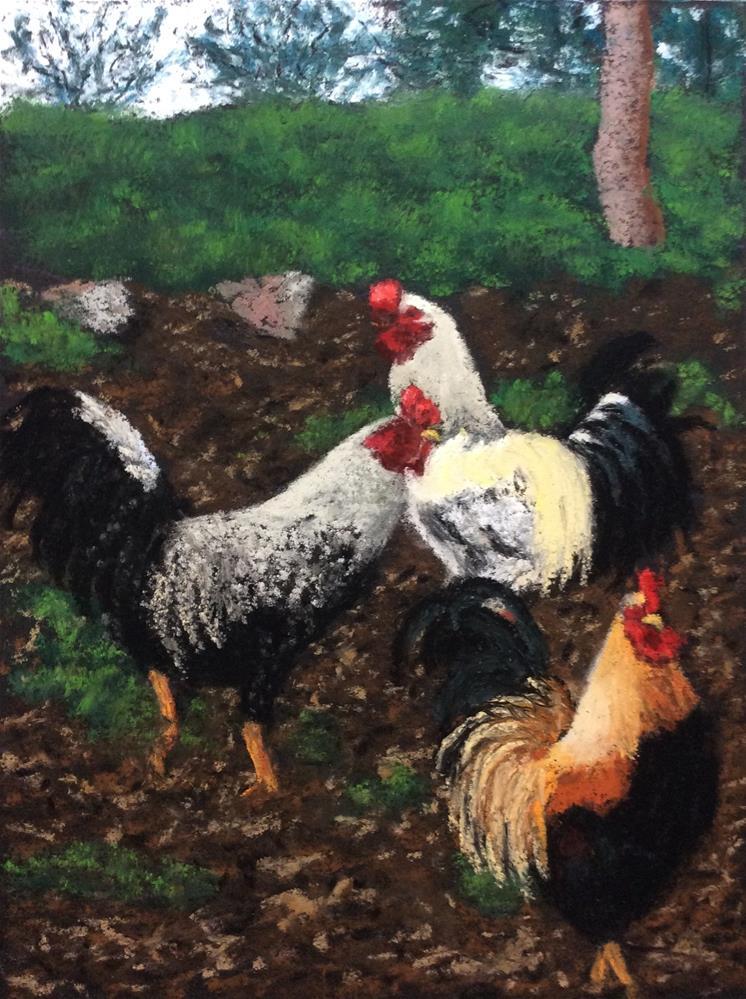 """""""3 ROOSTERS"""" original fine art by Marti Walker"""