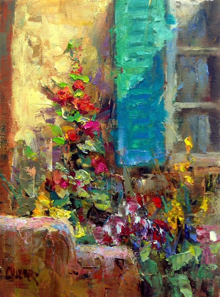 """Shutter and Flowers"" original fine art by Julie Ford Oliver"