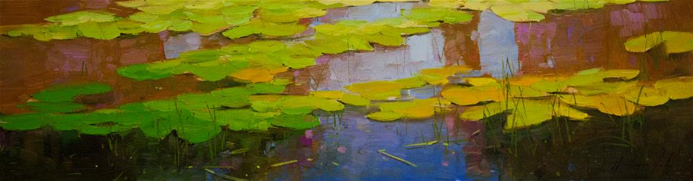 """Water Lilies Fall Original oil Painting One of a Kind"" original fine art by V Y"