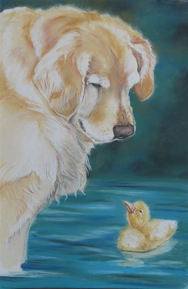 """""""Golden Retriever and duckling"""" original fine art by Charlotte Yealey"""