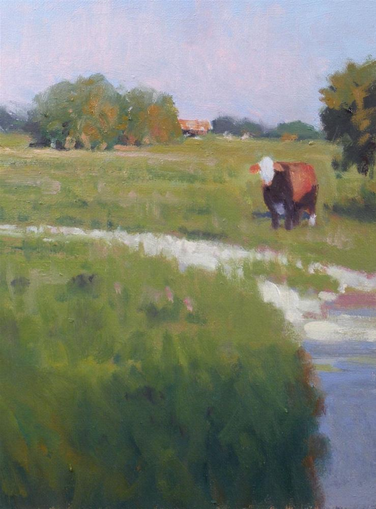 """""""Ranch and Cow"""" original fine art by David Forks"""