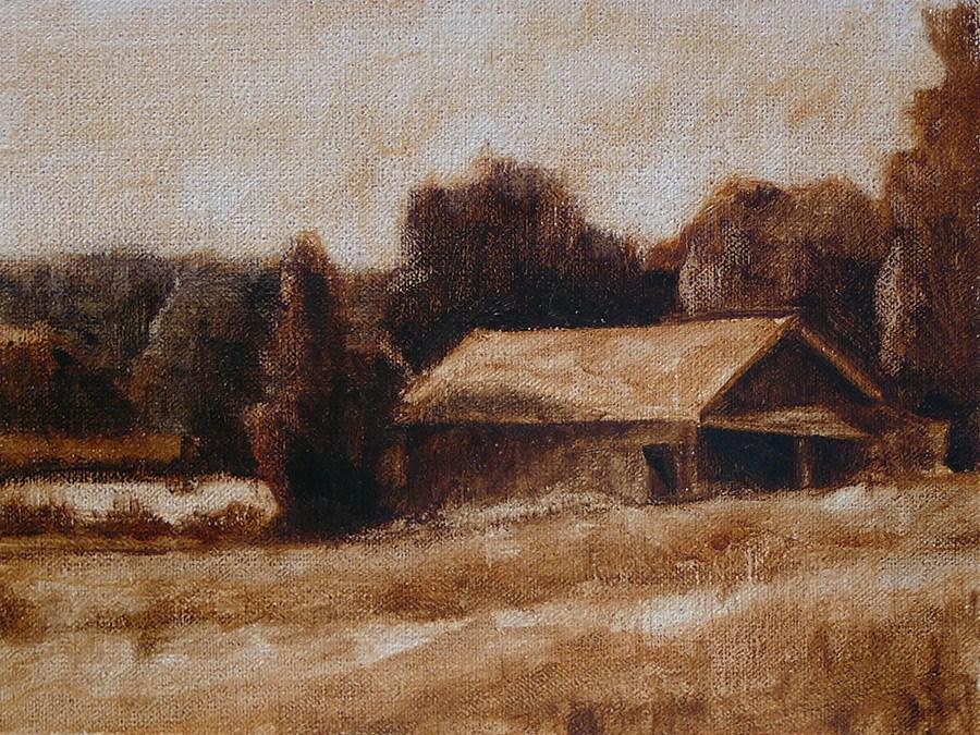 """""""Caney Road Barn"""" original fine art by Adam Houston"""