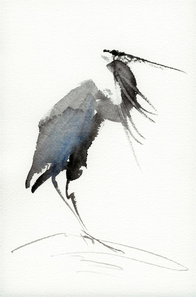 """Heron"" original fine art by Brenda Behr"