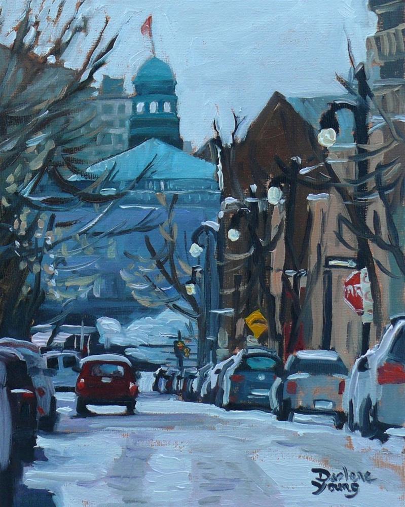 """""""680 Montreal Winter Scene Rue Prince Artur (McGill Ghetto)"""" original fine art by Darlene Young"""