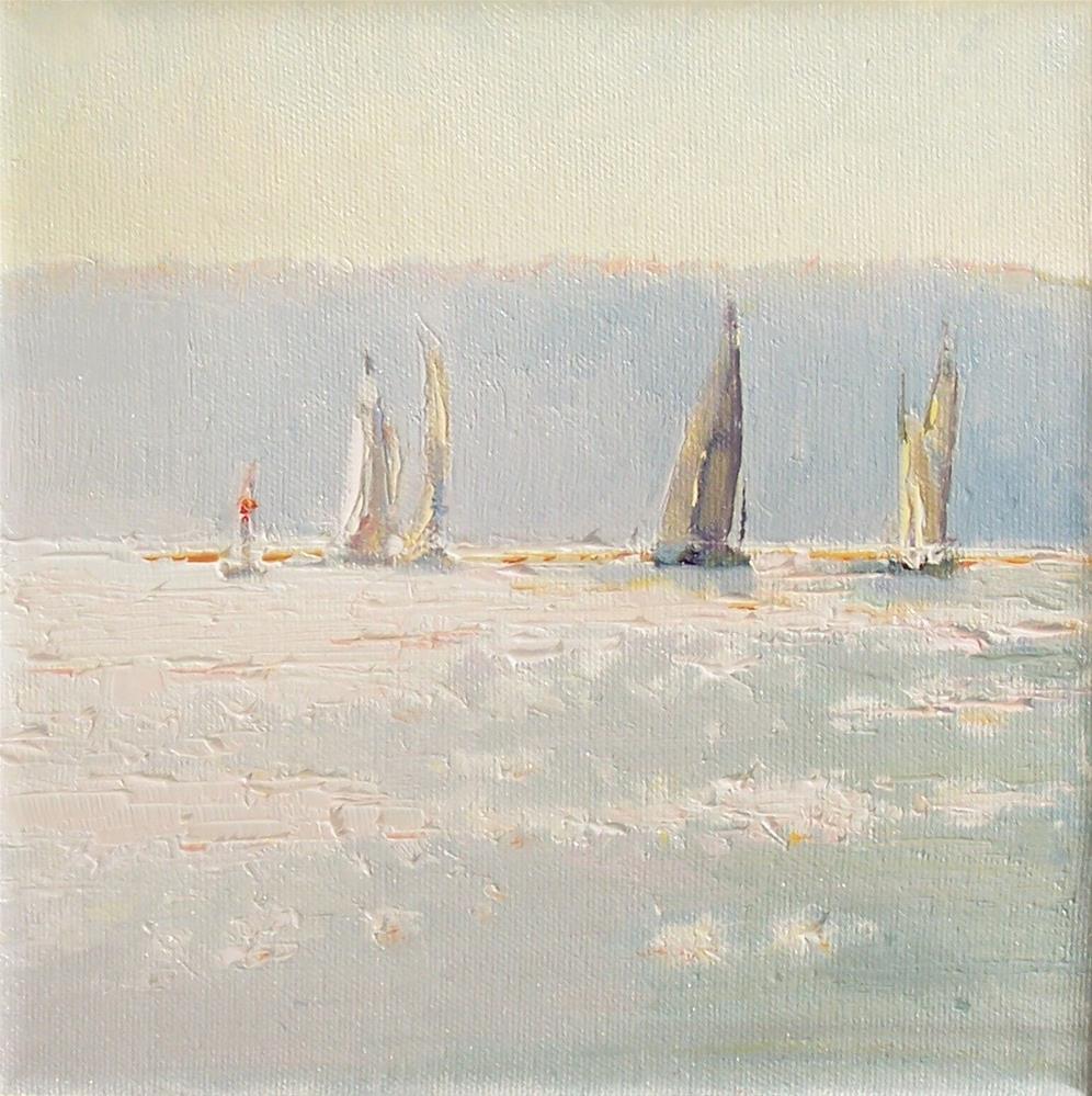 """Evening Sail Boat Race,seascape,oil on canvas,8x8,price$300"" original fine art by Joy Olney"