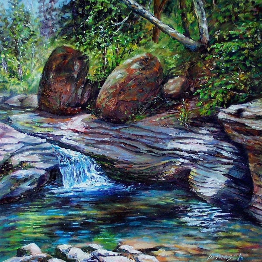 """""""Boulder Wash"""" original fine art by Donna Munsch"""