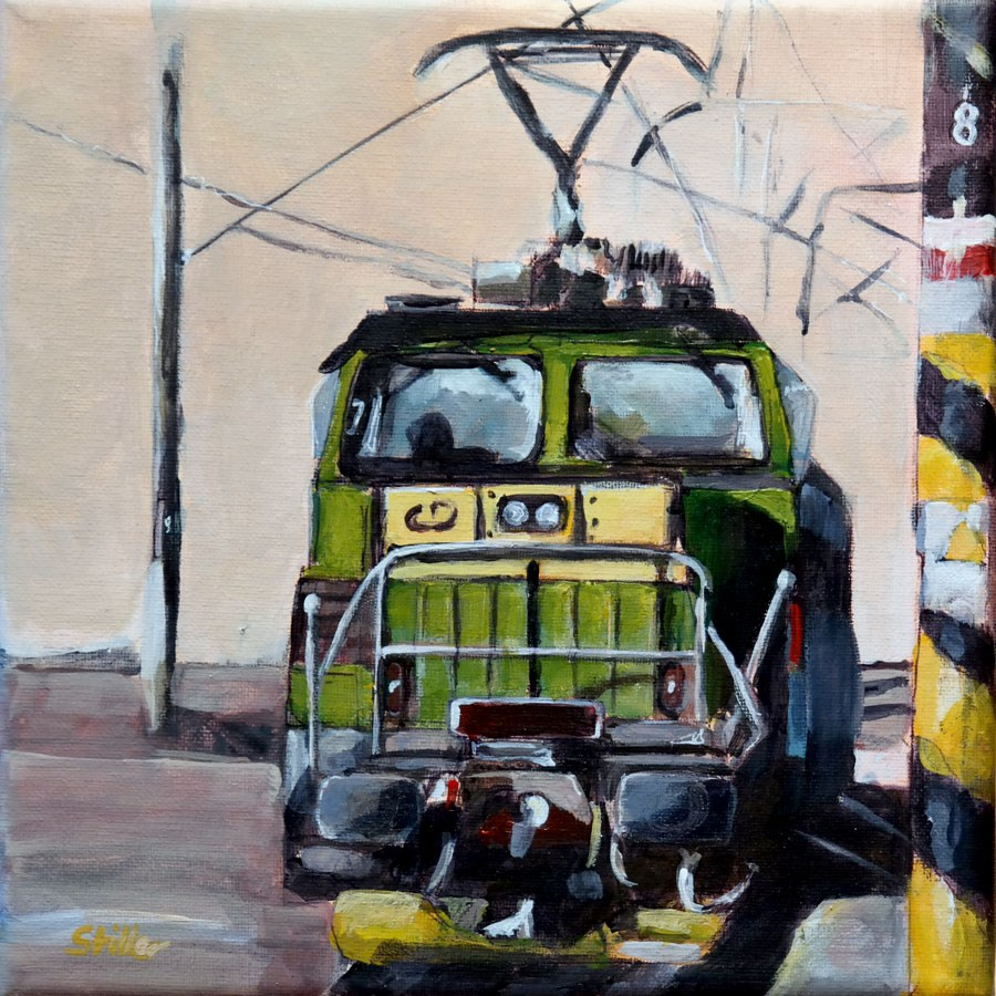 """2002 Green Locomotive"" original fine art by Dietmar Stiller"