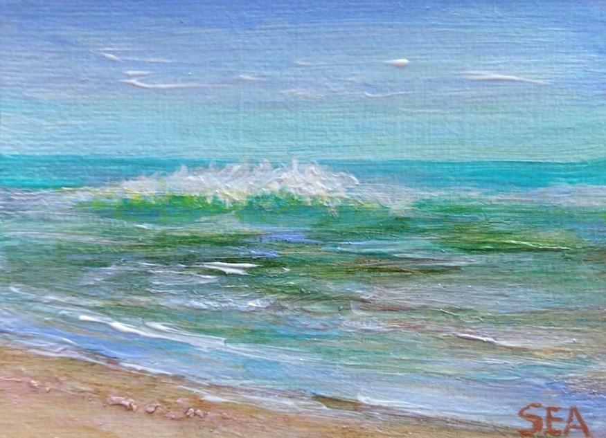 """3054 - SUMMER WAVES - ACEO Series"" original fine art by Sea Dean"