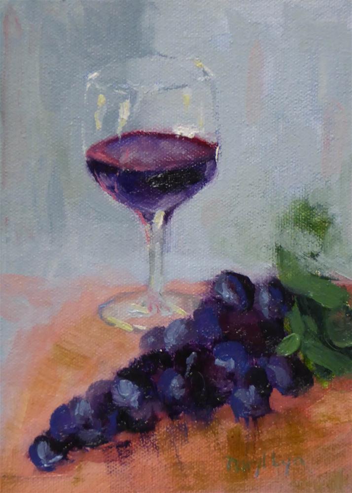 """P-399 Wine & Grapes"" original fine art by Daryl Lyn King"