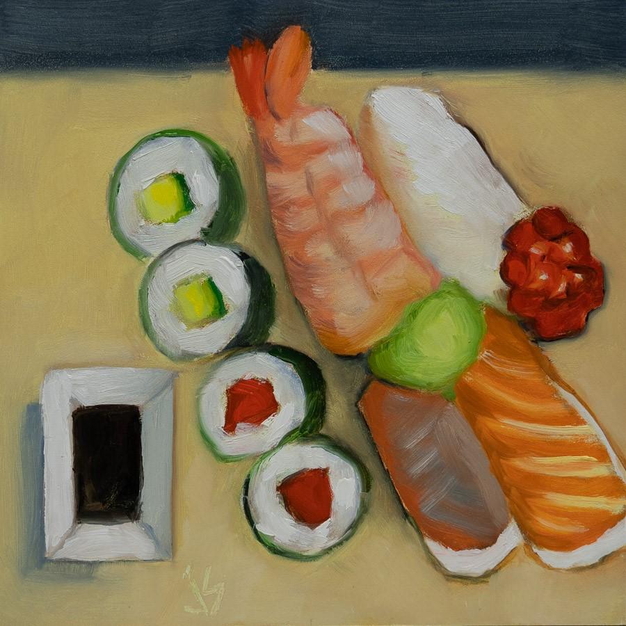 """Sushi Anyone?"" original fine art by Johnna Schelling"