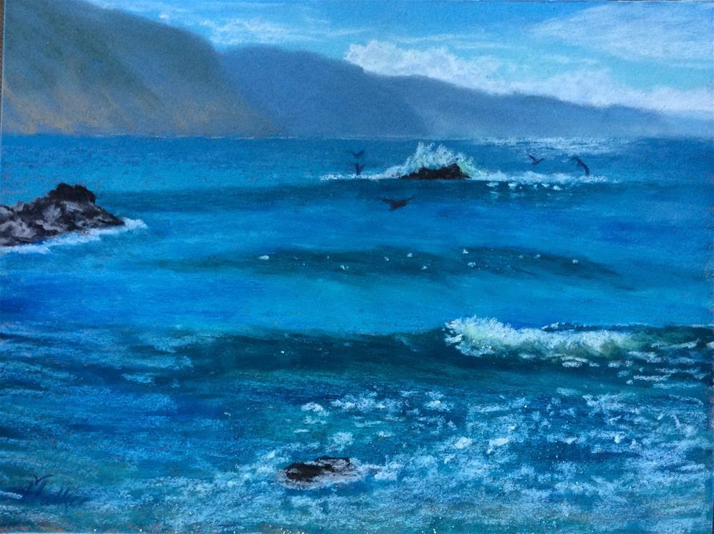 """""""WHEN THE SEA SPARKLES"""" original fine art by Marti Walker"""