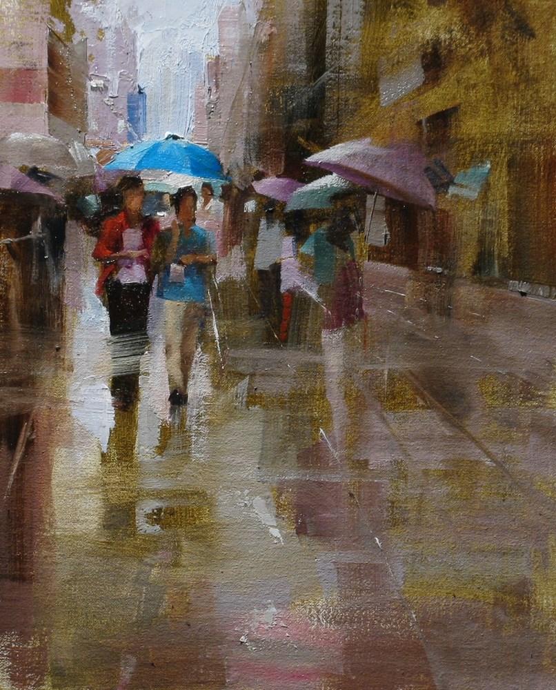 """Blue Umbrella"" original fine art by Qiang Huang"