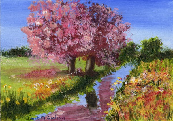 """Spring ACEO"" original fine art by Janet Graham"