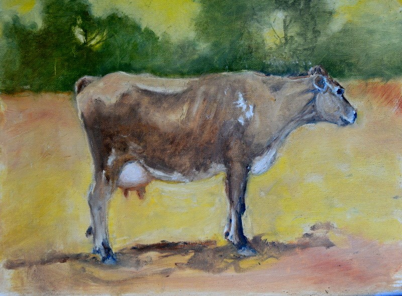 """Milking time"" original fine art by Dorothy Redland"