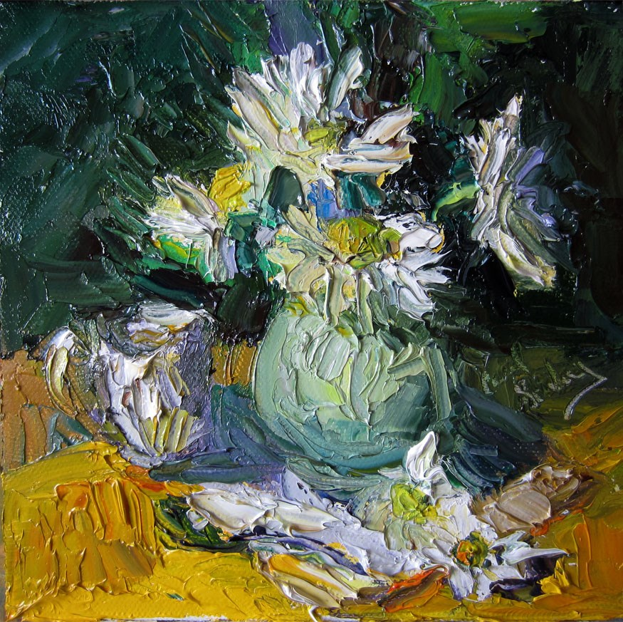 """Daisies in Gray Green Jug"" original fine art by Carol Steinberg"