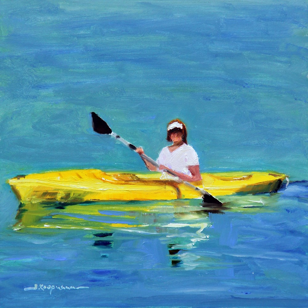 """Yellow Kayak"" original fine art by Shelley Koopmann"