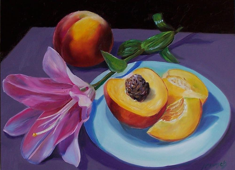 """""""Peach Pink Lily"""" original fine art by Donna Munsch"""
