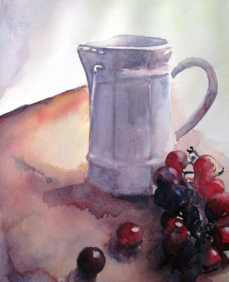 """Pitcher With Grapes"" original fine art by Kara K. Bigda"