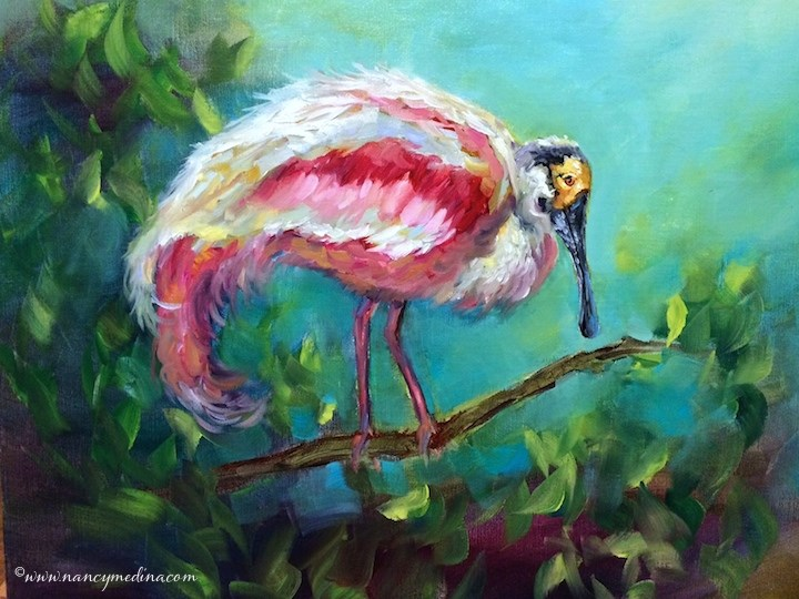 """Roseate Spoonbill - Florida Bird Painting - Nancy Medina Art"" original fine art by Nancy Medina"