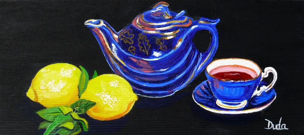 """CuppaTea and Lemons with Sarah"" original fine art by Susan Duda"