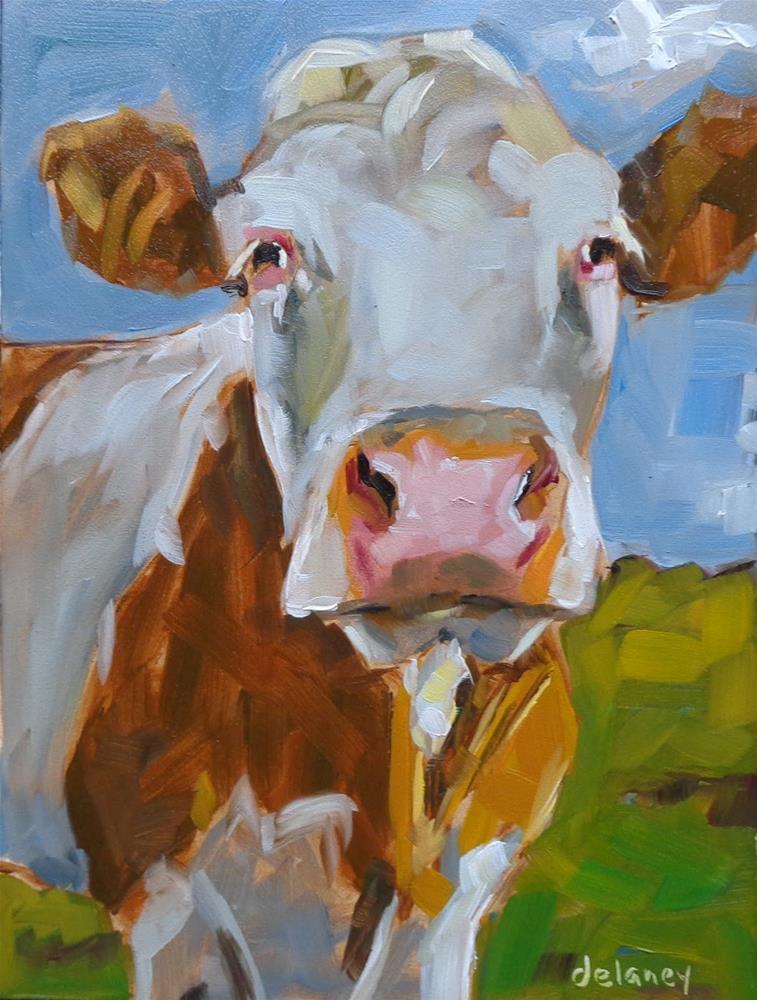 """Cow 98 I'M OFTEN MISUNDERSTOOD"" original fine art by Jean Delaney"