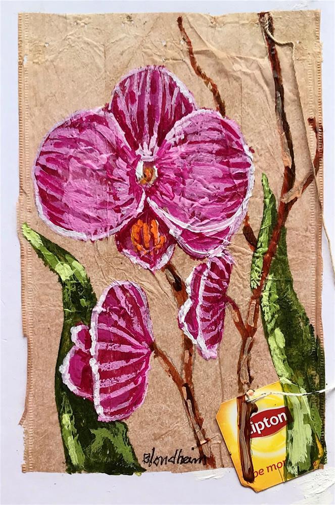 """Tea Bag Painting Orchids"" original fine art by Linda Blondheim"