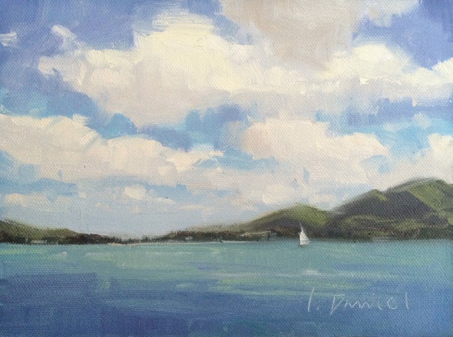 """Setting Sail - Postcard from Hawaii"" original fine art by Laurel Daniel"