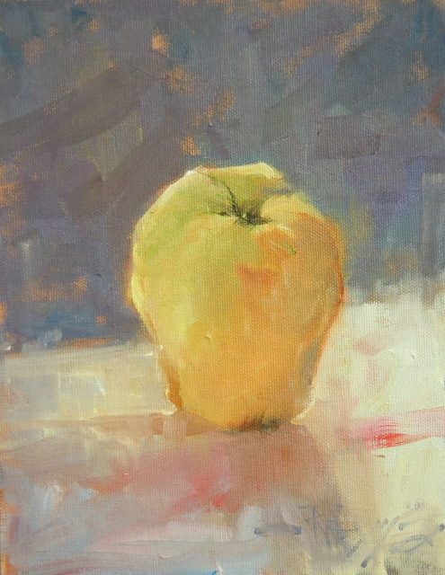 """Yellow Apple  fruit still life painting"" original fine art by Robin Weiss"