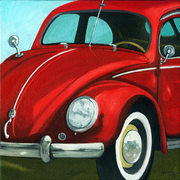 """Classic Vintage VW Bug - Vintage car"" original fine art by Linda Apple"