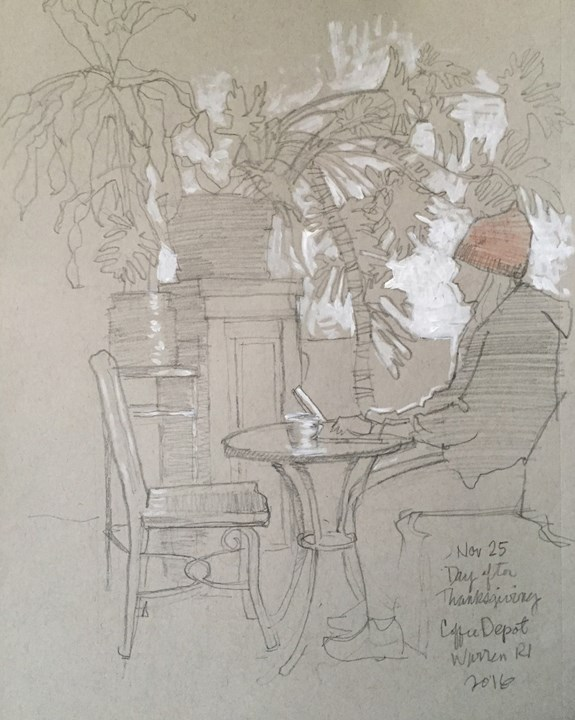 """Sketching at the Coffee Depot"" original fine art by Kathy Weber"