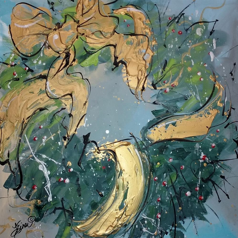 """""""Christmas Wreath"""" original fine art by Terri Einer"""