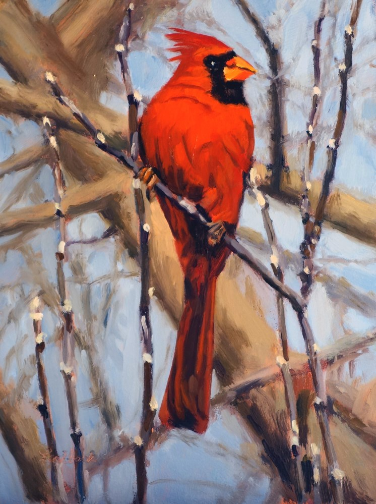 """Cardinal"" original fine art by Daniel Fishback"