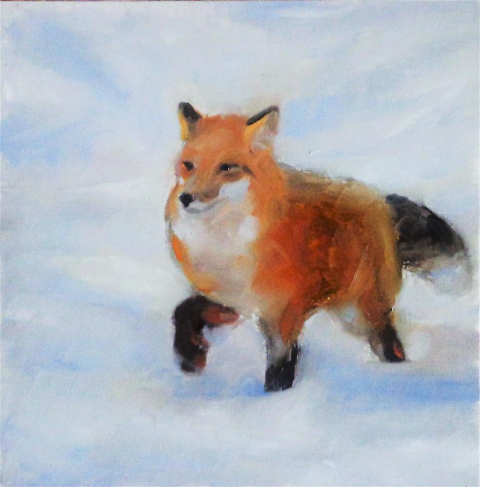 """Fox in snow"" original fine art by Maria Z."