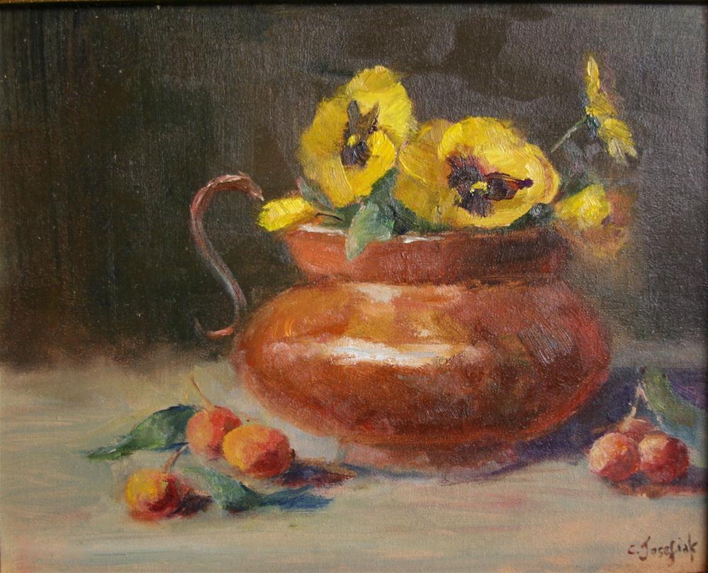 """Yellow Pansies"" original fine art by Carol Josefiak"
