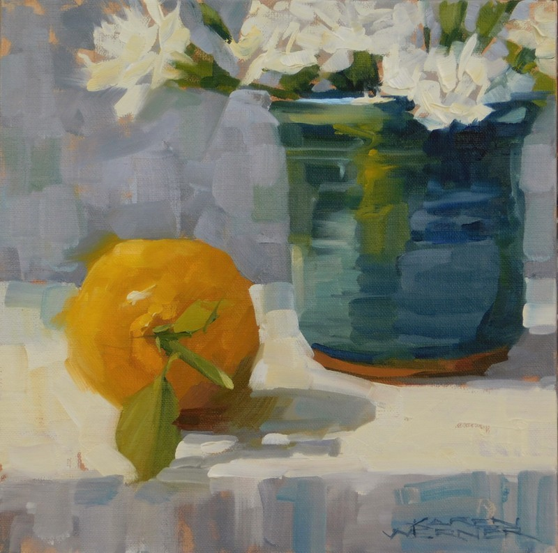 """Lemon In Blue"" original fine art by Karen Werner"