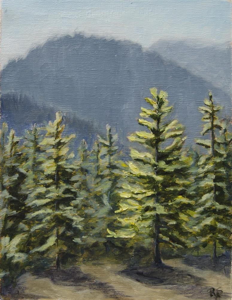 """Gold and Blue – Trees and Mountains"" original fine art by Rachel Steely"