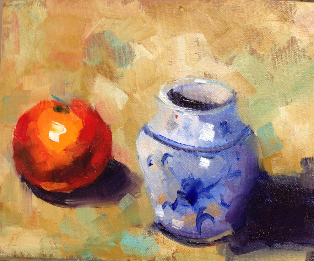 """Orange N Blue"" original fine art by Peggy Schumm"