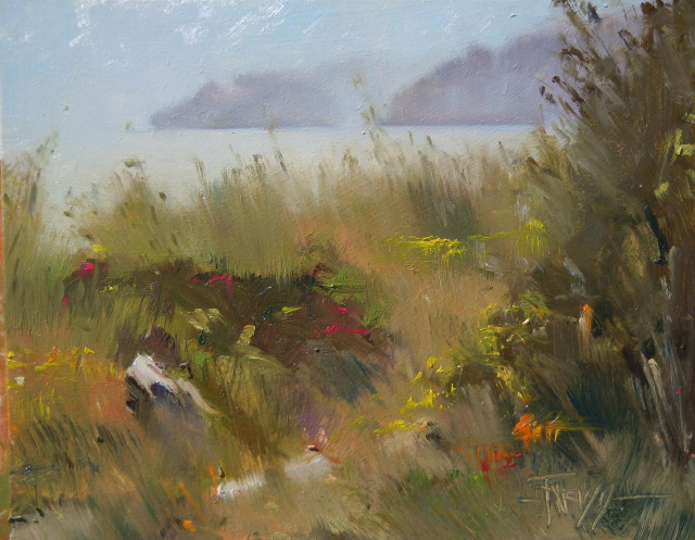 """""""Plein Air Painting, at the Point no Point Lighthouse"""" original fine art by Robin Weiss"""