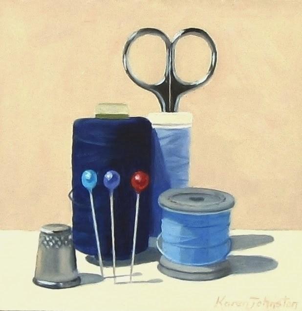 """Sew Ready"" original fine art by Karen Johnston"