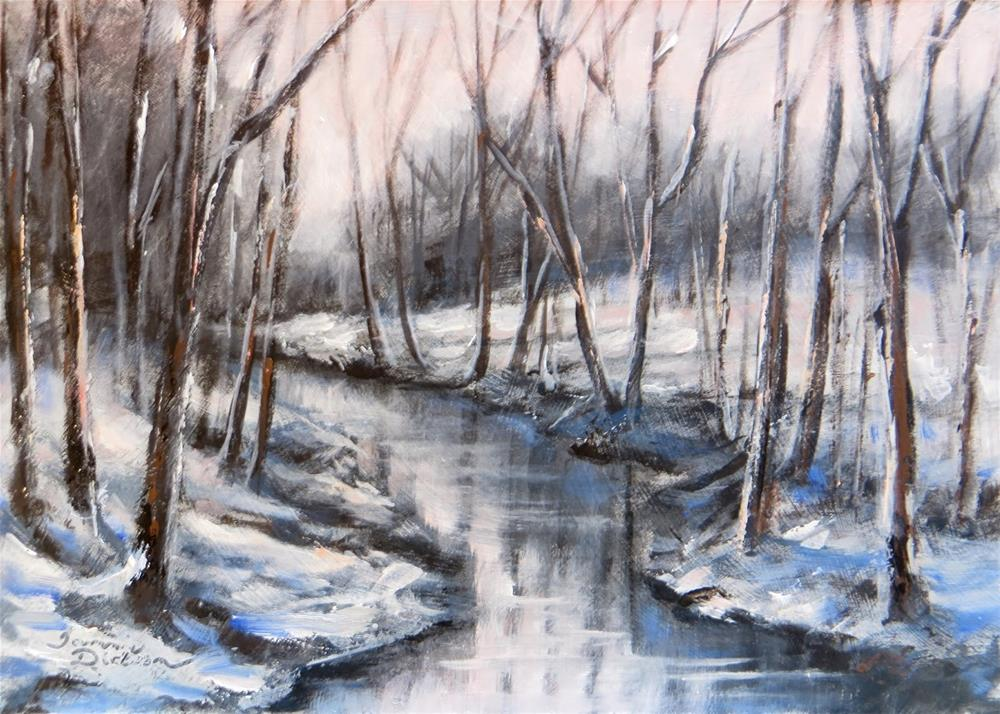 """Wooded Winter Creek"" original fine art by Tammie Dickerson"
